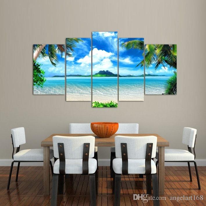 Compre 5 Unids / Set Unframed Coco Playa Arte De La Pared Pintura Al ...