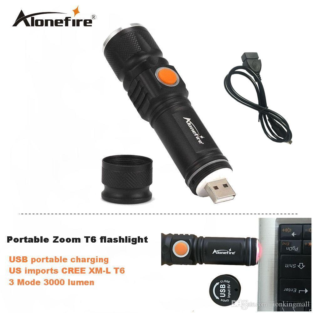 AloneFire UA100 portable light mini USB flashlight CREE XM-L T6 LED torch rechargeable 18650 Built-in battery waterproof flash light