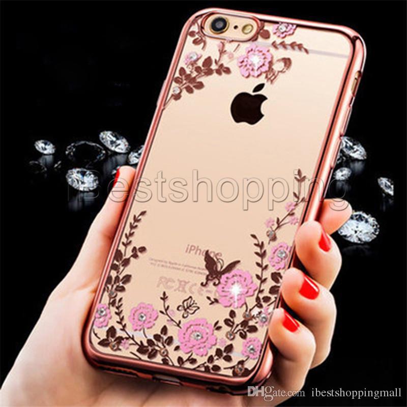TPU macio diamante galvanizar caso claro para iphone x xr xs max 8 7 6 plus samsung s8 s9 além de nota 8 9 jardim secreto flor cove transparente
