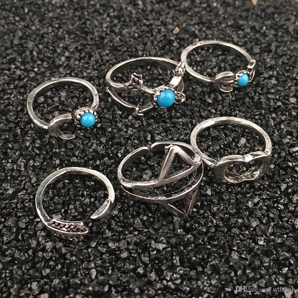 Vintage Geometric Knuckle Rings Sets Punk Exaggerate Arrow + Moon Midi Ring Inlay Turquoise Finger Ring Jewelry Set