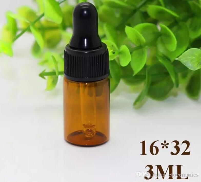 1ml Amber Glass Dropper Flaskor W / Black Cap Essential Oljeflaska Små Parfymflaskor Provtagning Storage 1000 stycken upp