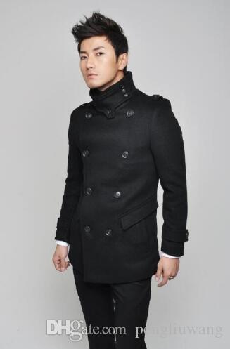 22fcfba4bc4 2019 Black Casual Medium Long Woolen Coat Men Trench Coats Overcoat Mens  Cashmere Coat Casaco Masculino Inverno England Clothing 3XL From Pengliuwang