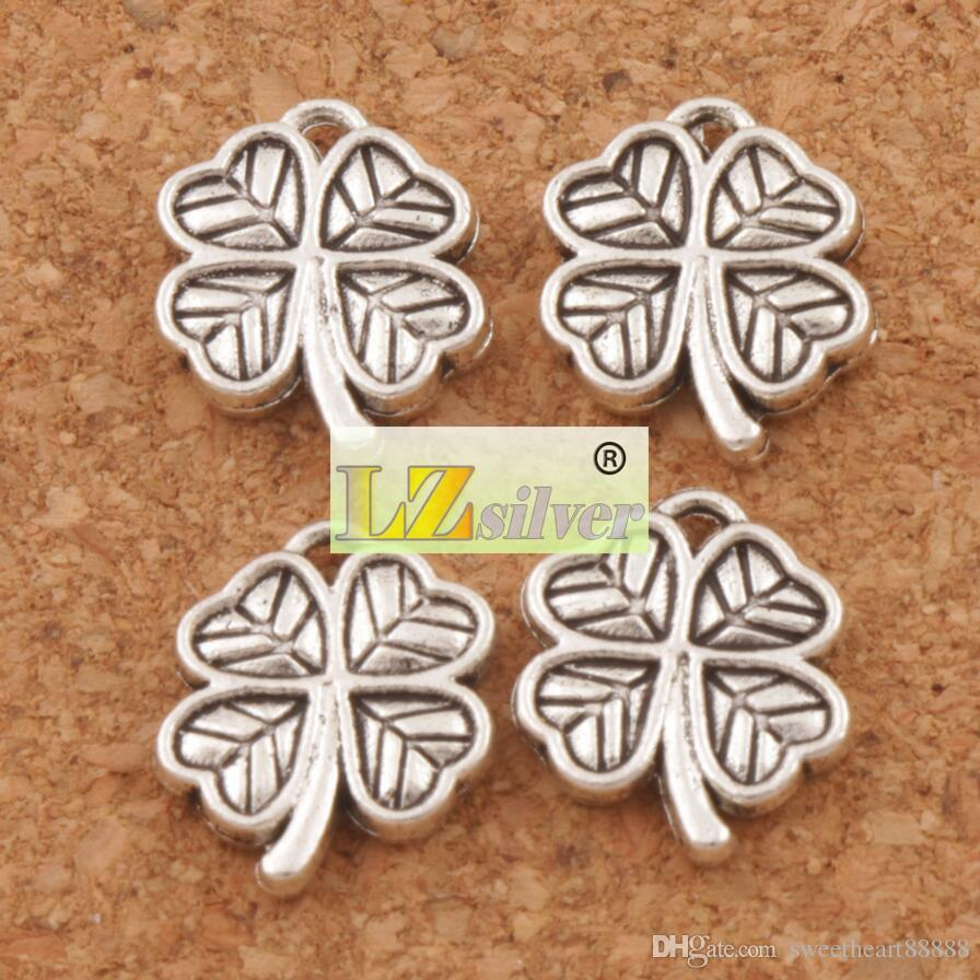 Hart Kleine Clover Charms 200 stks / partij Antiek Zilver Hangers Sieraden DIY L576 12.2x10.6mm Sieraden Bevindingen Componenten