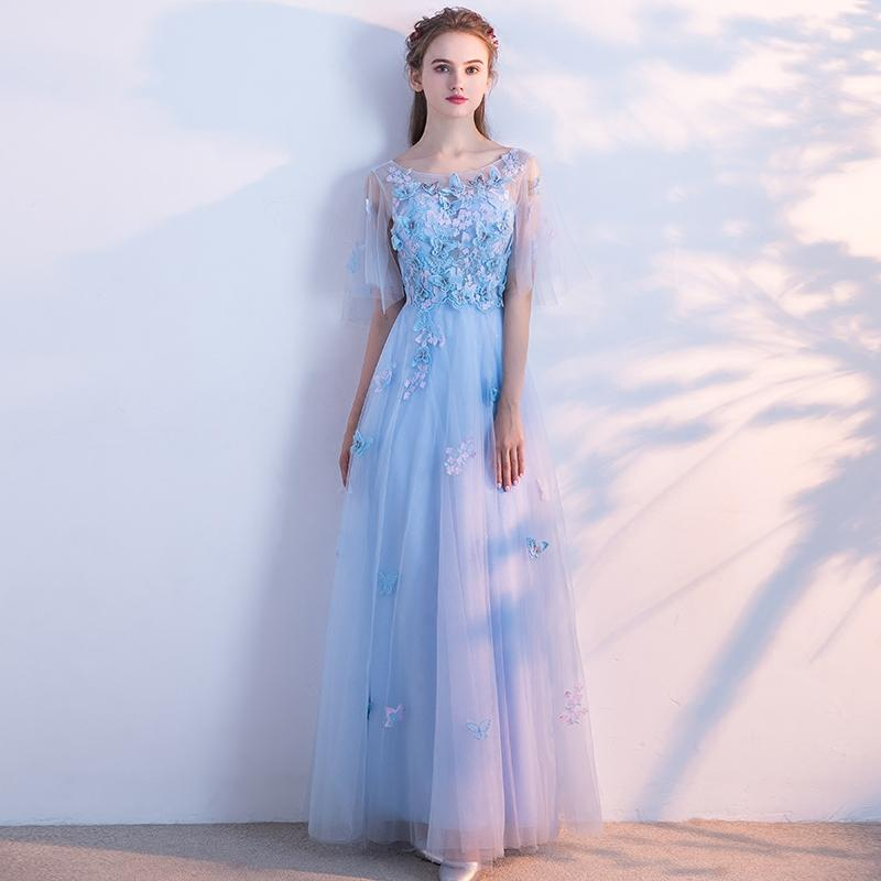 Ssyfashion New Fresh Light Blue Lace Evening Dress Bride Banquet ...