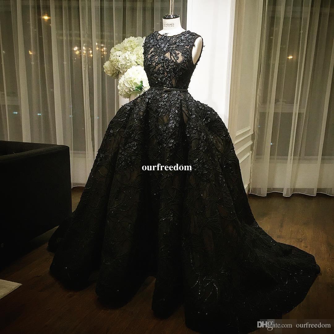2019 Tony Ward Schwarze Abendkleider Prickelnde Pailletten Puffy Ballkleid Festzug Party Prom Dresses Nach Maß