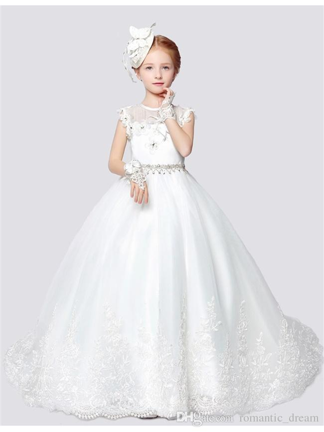 Hot Sale Princess Flower Girl Dresses with Train for Wedding Little Girls Kids/Child Dress Party Pageant First Communion Dress