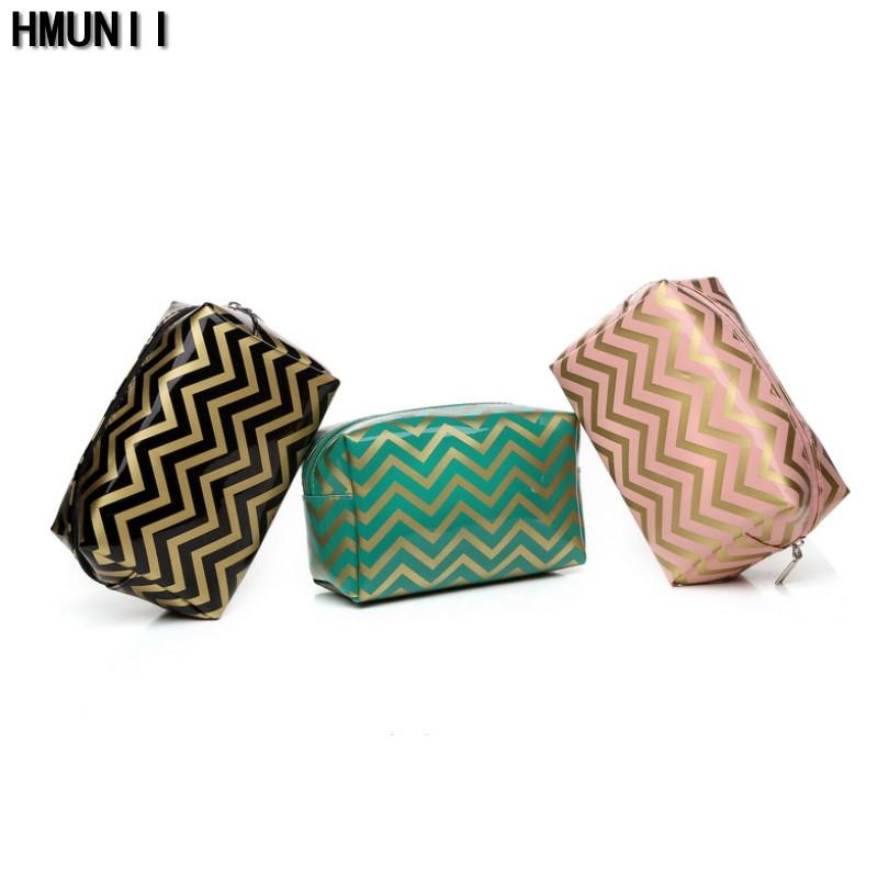 36b223f4b1b8 Wholesale- HMUNII 2017 PVC Leather Cosmetic Bag Small Stripe Makeup Bag  Black Gold Toiletry Bag Women Travel Organizer Make Up Vanity Case