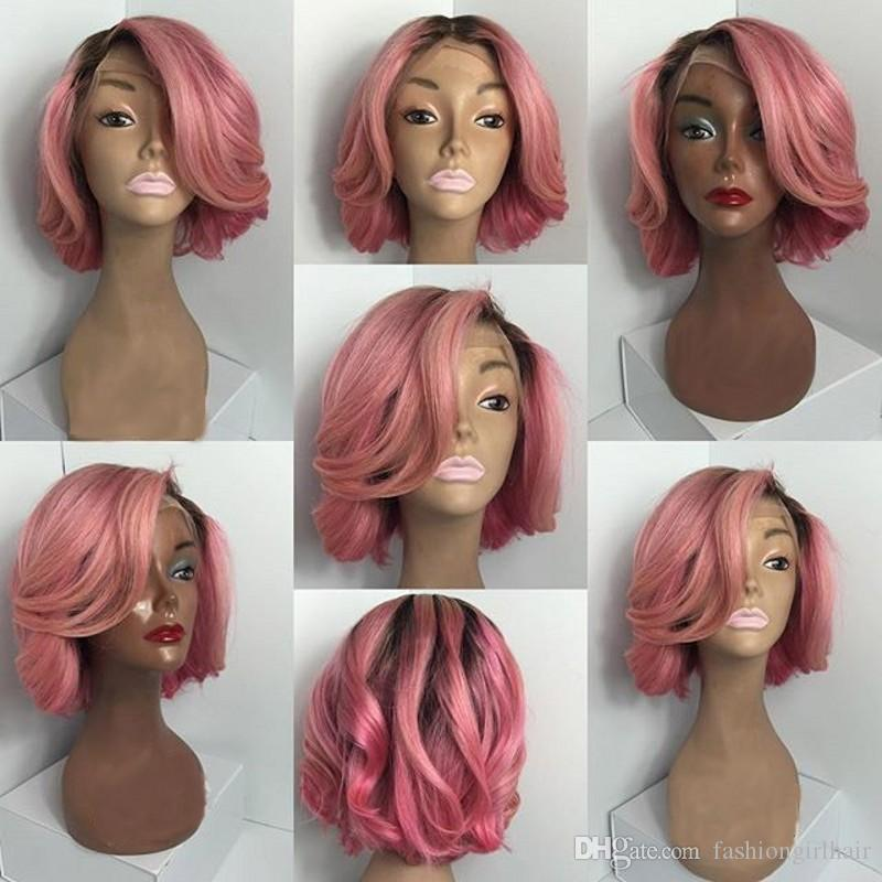 150 الكثافة الطبيعية متموجة أومبير اللون قصيرة الاصطناعية الدانتيل الباروكات الوردي بوب لمة مقاومة للحرارة شعر مستعار مع شعر الطفل