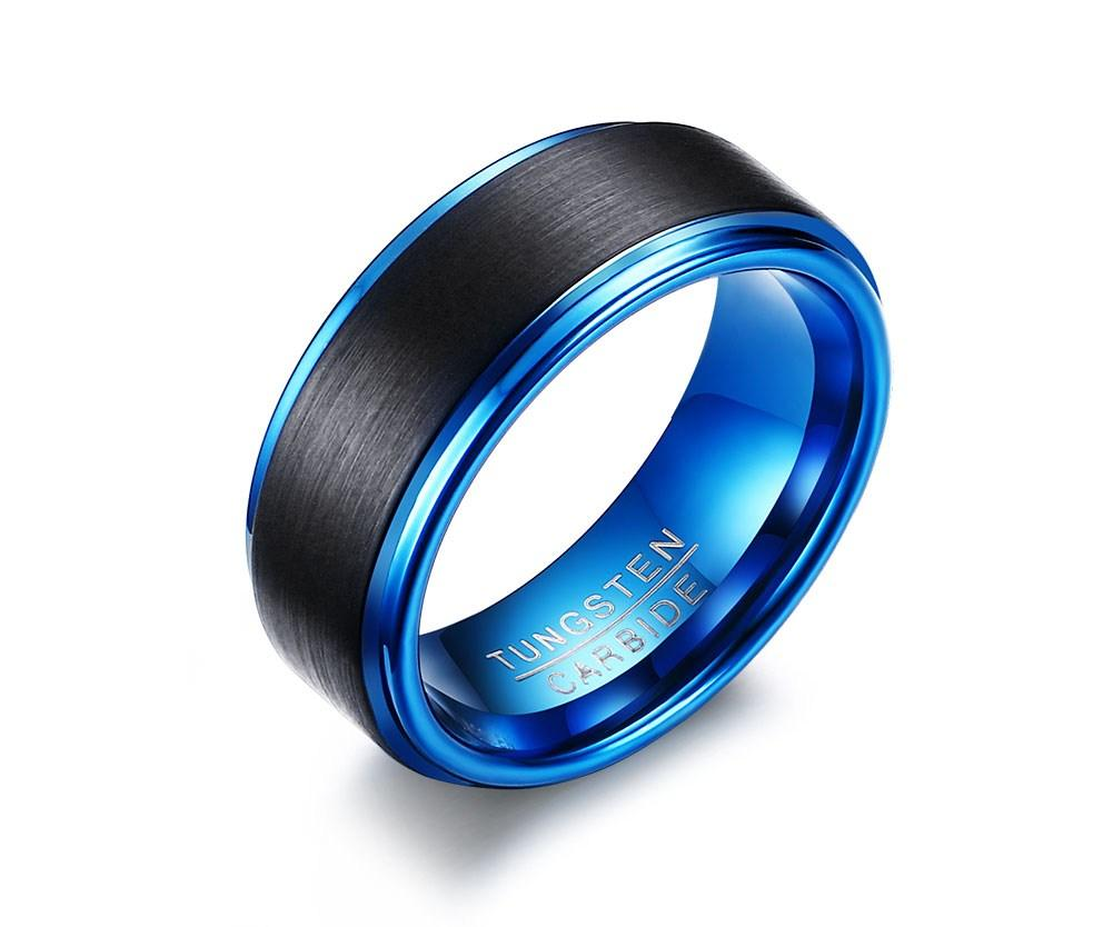 Mens Two Tone Black Blue Tungsten Ring Brushed Center Step
