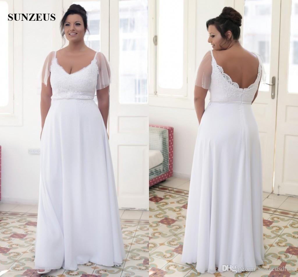 Discount Long Chiffon Wedding Dresses Plus Size Women