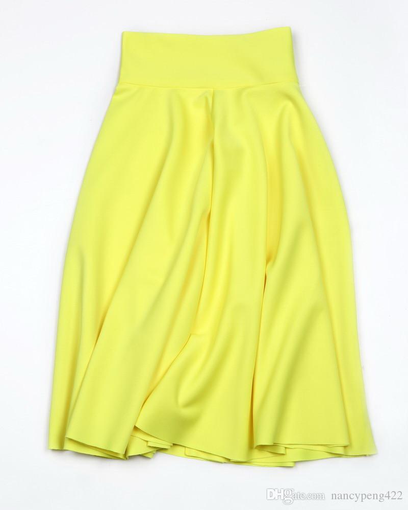 Cintura alta Pleat elegante saia verde preto branco na altura do joelho Flared Saias Moda feminina Faldas Saia 5XL Plus Size Ladies Jupe