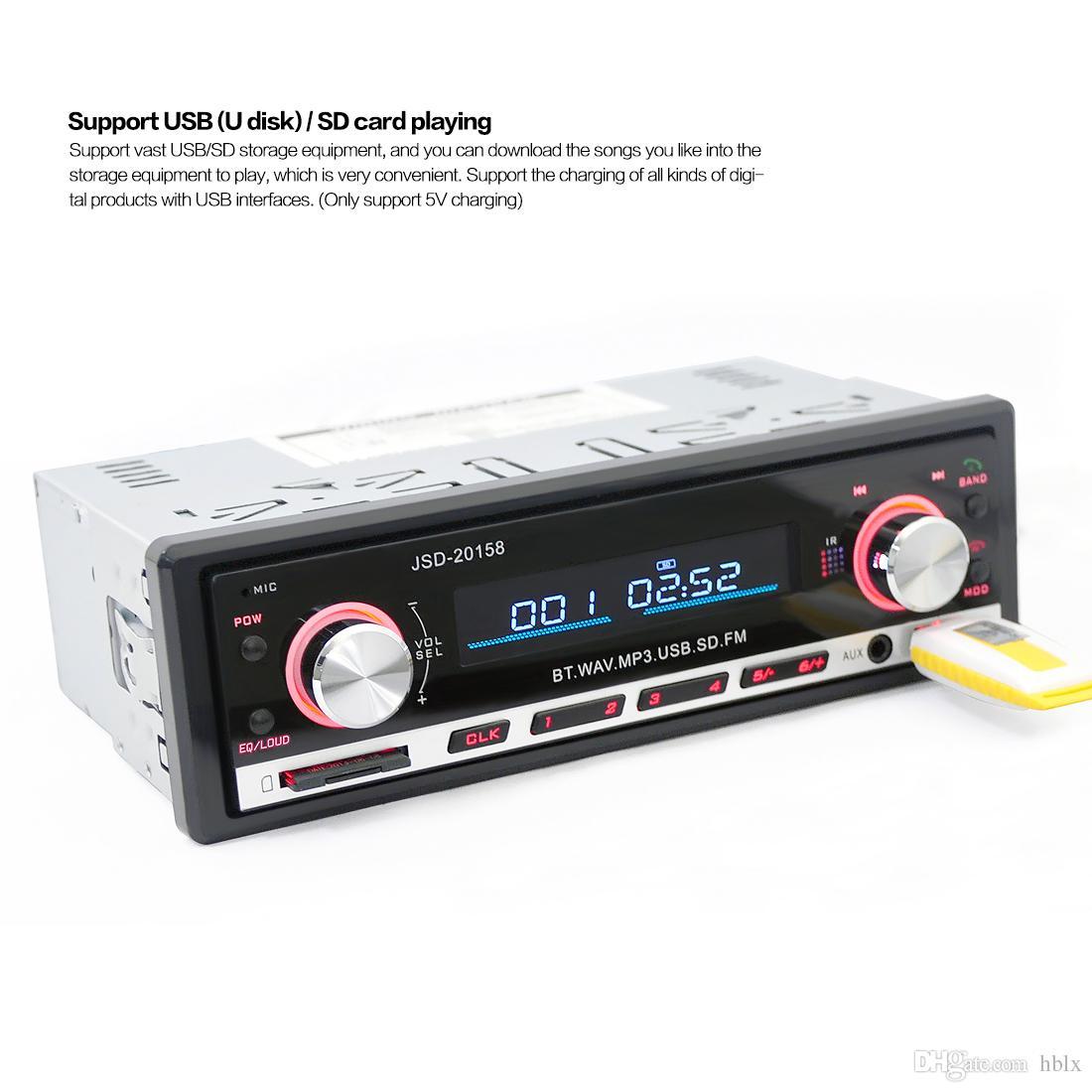 JSD 20158 12V Car Radio MP3 Player Car Stereo Audio In-dash FM Receiver Bluetooth Autoradio with Remote Control CAU_01L