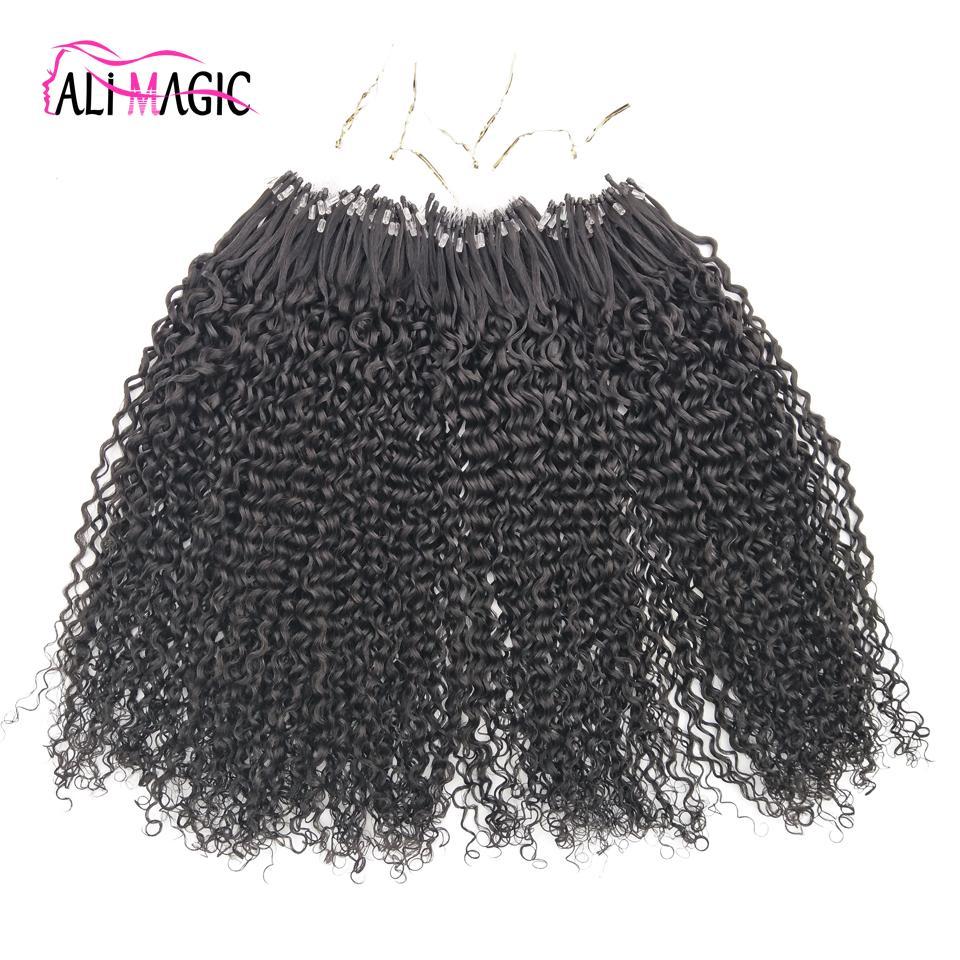 Sconto Miglior Kinky ricci nano anello capelli umani estensioni 1g indiano Remy capelli Micro Loop estensione dei capelli nero naturale onda profonda 100 perline