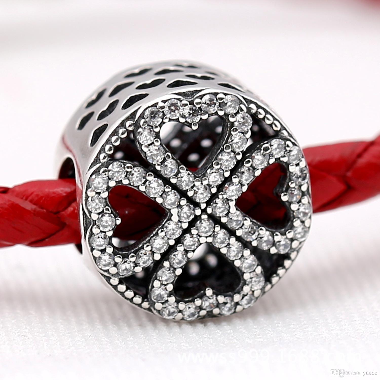 VENTA joyas finas auténtica plata de ley 925 pulsera del encanto collar diy perlas trébol para niña navidad GIF
