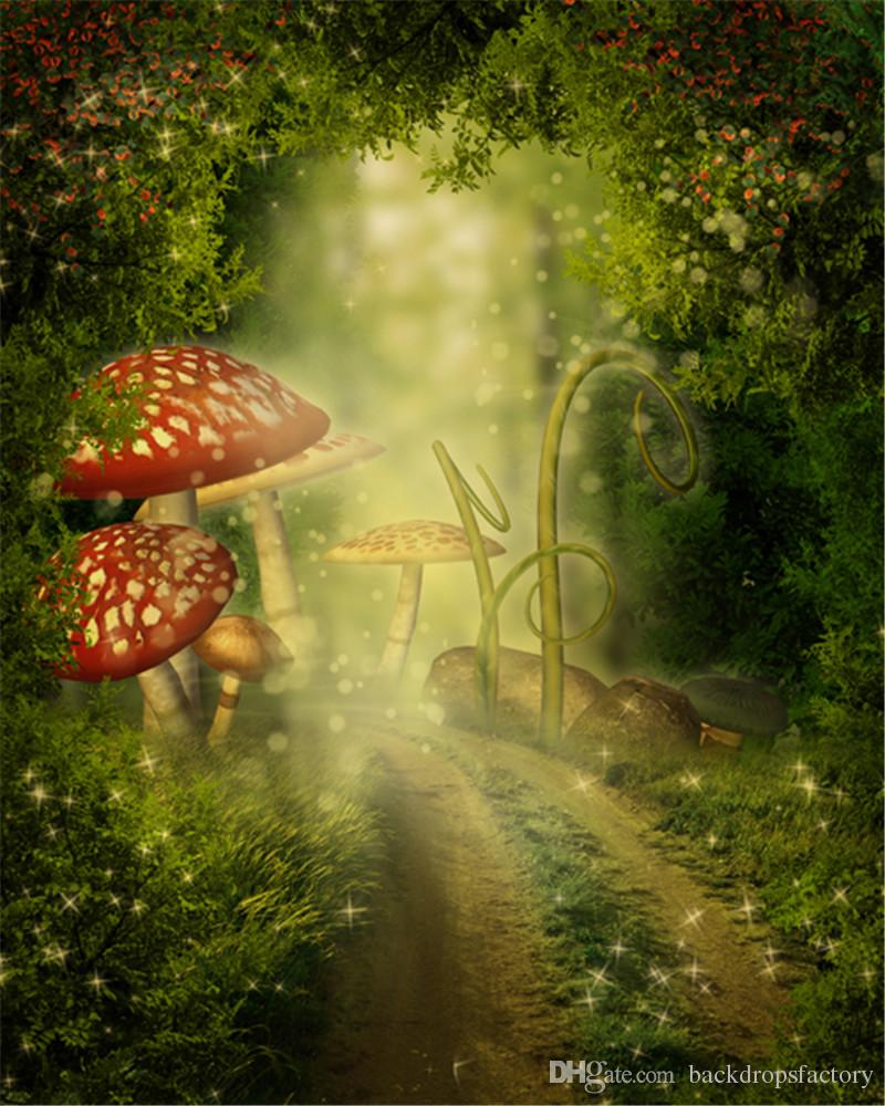 2019 5x7ft Big Mushrooms Fairy Tale Backgrounds For Photo