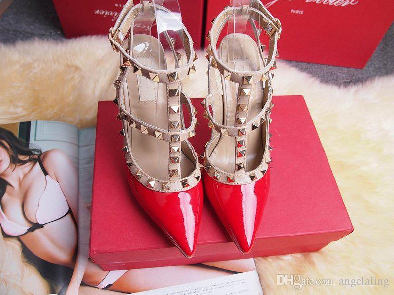 Mulheres sapatos de salto alto sapatos de festa de moda rebites meninas sexy apontou toe sapatos fivela plataforma bombas de casamento sapatos preto branco cor rosa