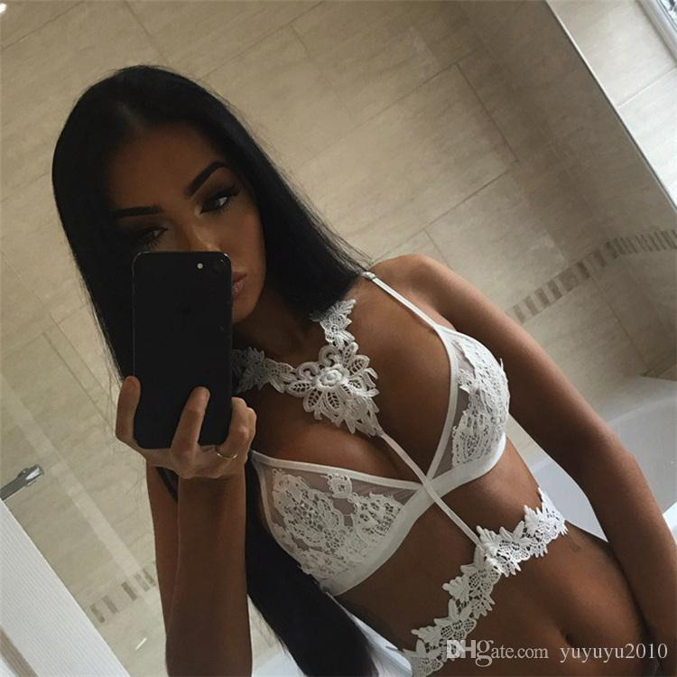 2017 Women Bras Sexy Lace Patchwork Lace Triangle Bra Bustier Mujer Crop Top Mesh Floral Sheer Bikini Bras Ladies Bras MDN U1620A
