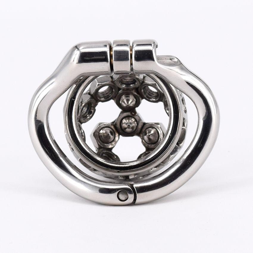 Cinto de castidade de Metal cravado de aço inoxidável Super pequeno dispositivo de castidade masculino 2