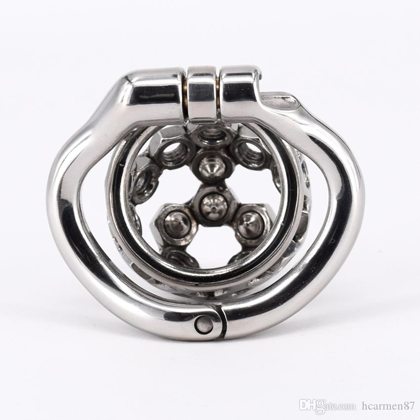 """Metal Spiked Chastity Belt Stainless Steel Super Small Male Chastity Device 2"""" With Short Spike Screw Cock Cage Sex Toys For Men Penis"""