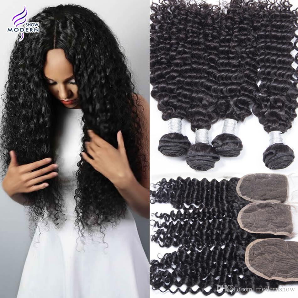 Modern Show Hair Curly Weave 4 Bundles Peruvian Curly hair with Closure Peruvian Human Hair Weave Bundles