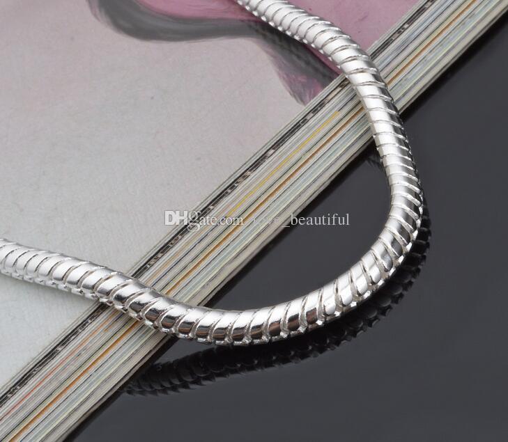 Klassische Mannfrau 3MM 4MM 8 Zoll lang 925 silberne Schlange-Charme-Kettenarmband FREIES VERSCHIFFEN /