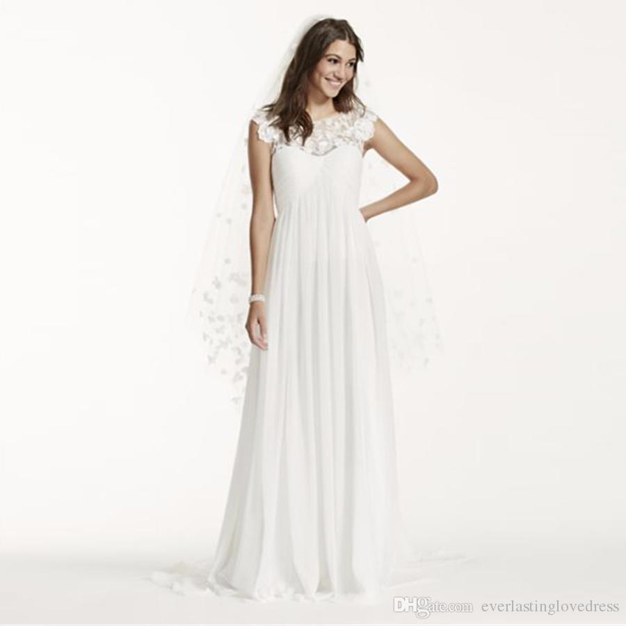117a58e0b24b7 Cap Sleeve Chiffon A Line With Floral Applique WG3698 Elegant Bridal Dress  Simple No Bidding Veil Vestido De Novia Wedding Dresses Under 100  Weddingdresses ...