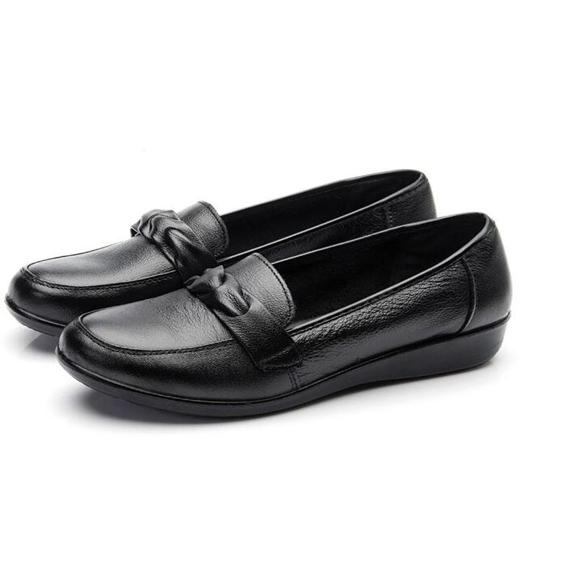 Donna Pelle Genuine Pelle Donna Flat scarpe Woman Loafers Donna Nero scarpe   46820d