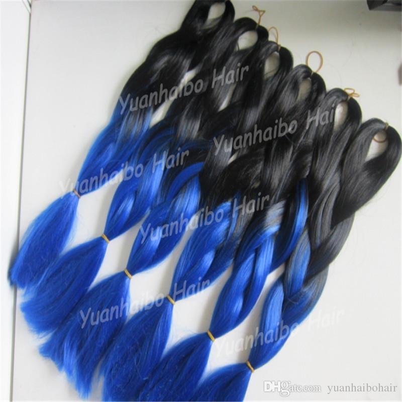 Акции Джамбо плетение волос расширение 20 дюймов Ombre черный синий синтетический Кос волос Для женщин Бесплатная доставка