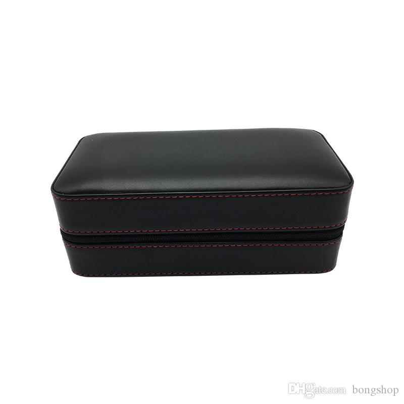 Cohiba Siyah Deri Sedir Ahşap Astarlı Taşınabilir Puro Seyahat Çantası Neme var 6 Kont beyaz Karton Kutu içinde paketlenmiş herhangi boyutta puro vardır