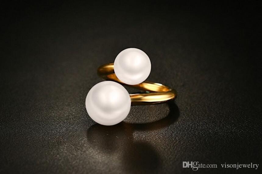 Gold Double Pearl End Statement Rings in Stainless Steel