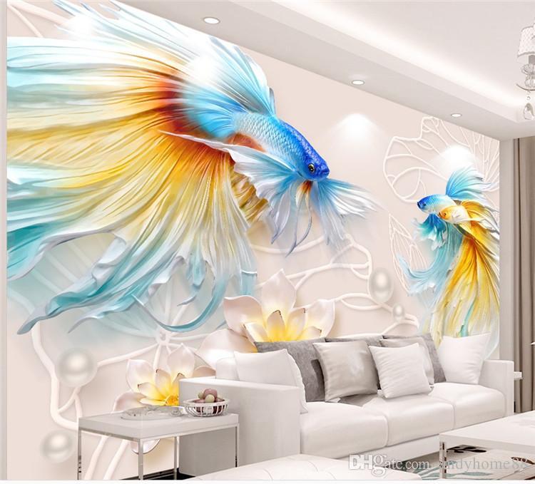 ТВ стены обои 3d 3D гостиная обои спальня бесшовные стены ткань нетканое фильм настенная живопись рыбы