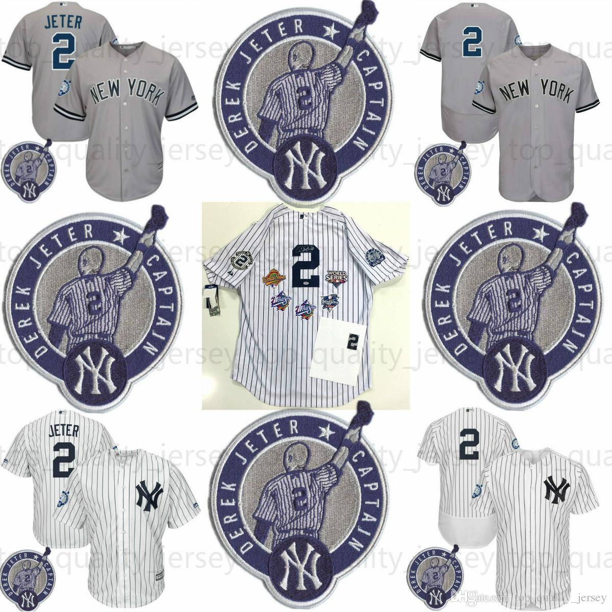 4c84296b847 new york yankees 2 derek jeter white with gold retirement patch jersey
