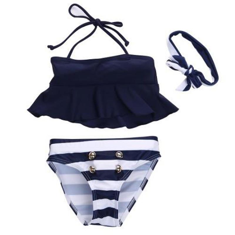 455056e876175 2019 2017 New Baby Girls Kids Bikini Suit Button Striped Bottoms Swimsuit  Swimwear Bathing Suit From Eshop2018, $9.55 | DHgate.Com