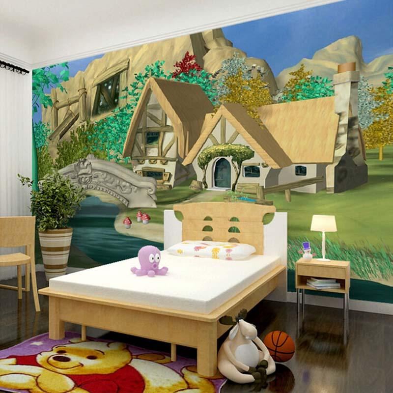 Wholesale Custom 3d Mural Wallpaper Cartoon House Natural Scenery ChildrenS Room Bedroom Wall Decals Background For Walls Wallpapers On