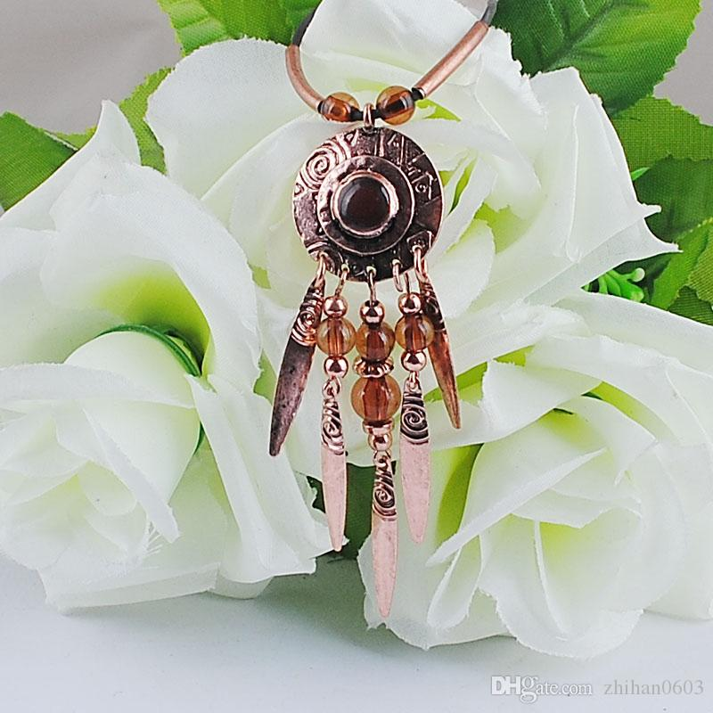 Perles Africaines À La Mode Bijoux Dernier Exquis Pendentif Collier En Cuir Corde Gland Collier En Gros Bijoux De Mode