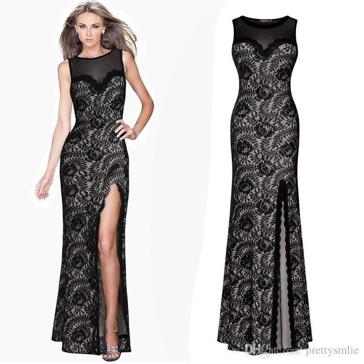 Women's Summer Sleeveless Backless Floral Lace Mesh Special Occasion Split Vestidos Formal Party Evening Sexy Long Maxi Dress