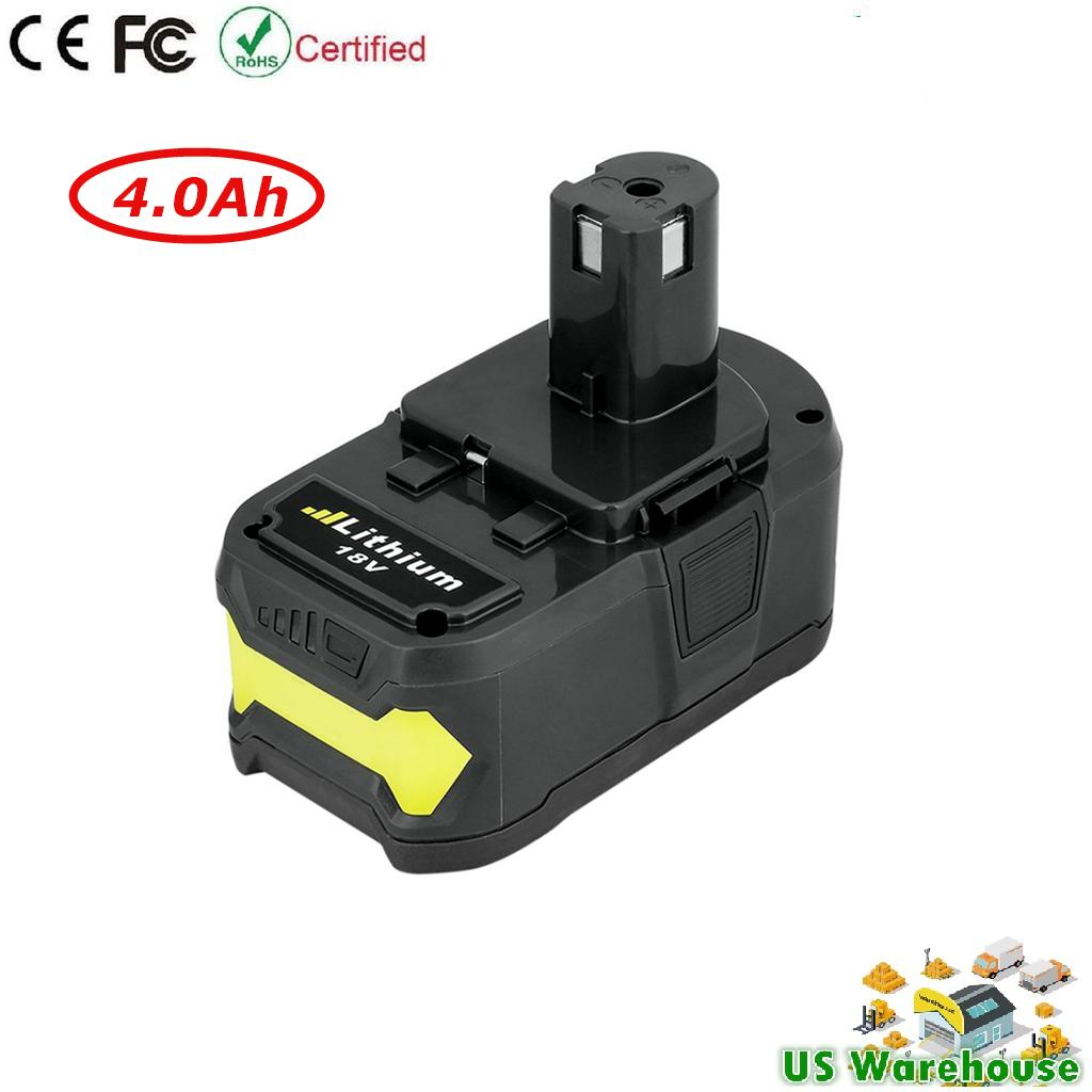 18V Replacement Li-ion Battery for Ryobi 18-Volt ONE Cordless Drill Power  Tool P102 P103 P105 P107 P108 P200 P2002 P201 Battery 18V 4 0Ah