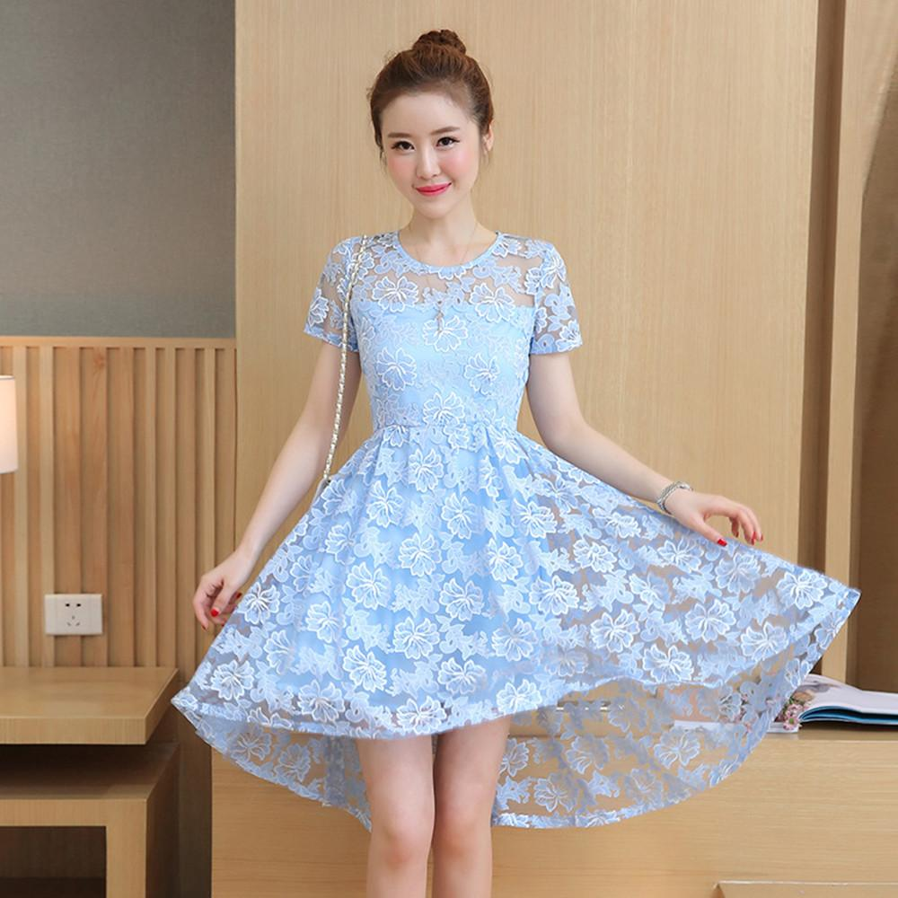 9e36785ca3b5 Korean Fashion Lady Women Girls Cute Sweet Round Neck Lace Short Sleeve  Summer Dress Skirt Clothes 3084 Dinner Dresses Dress Designers From  Shop in love