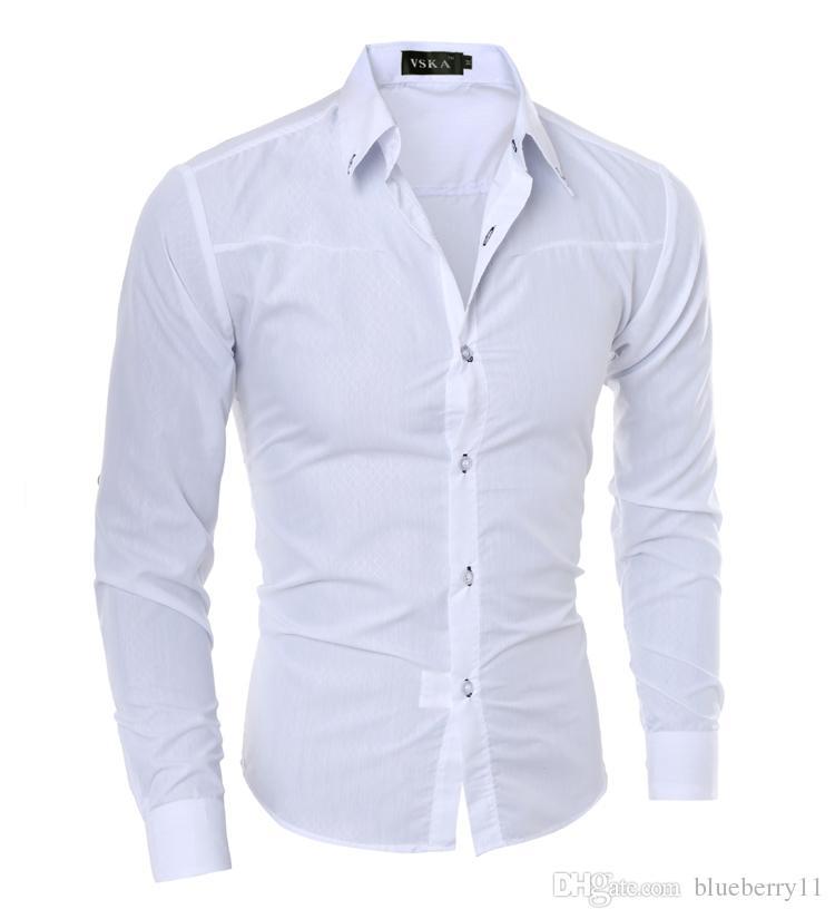 Luxus Herren Slim Fit Hemd Langarm Hemden Casual Formelle Business Hemden Feste Markenkleidung camisa social masculina M-4XL