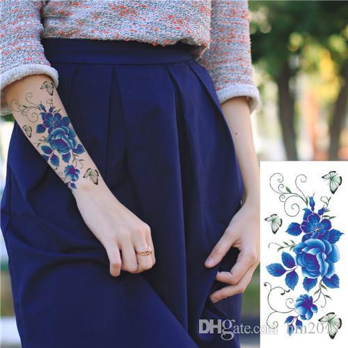 Indian Arabic Fake temporary flash henna tattoo stickers purple rose flowers arm shoulder leg tattoo waterproof women