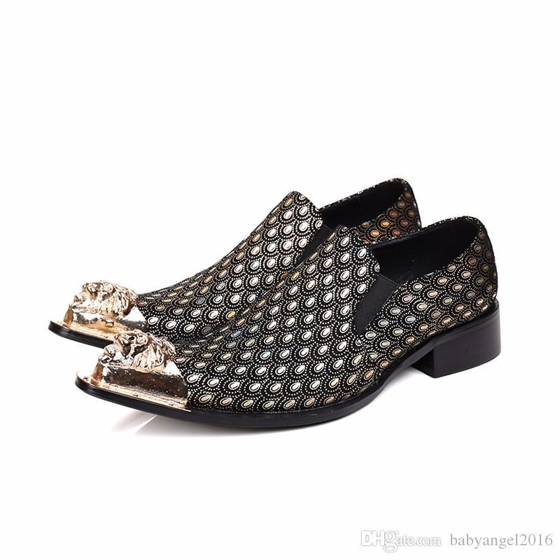Mode italienische metall charme echtes leder männer kleid schuhe gold spitze spitze hochzeitsgeschäft formale schuhe männer wohnungen große größe