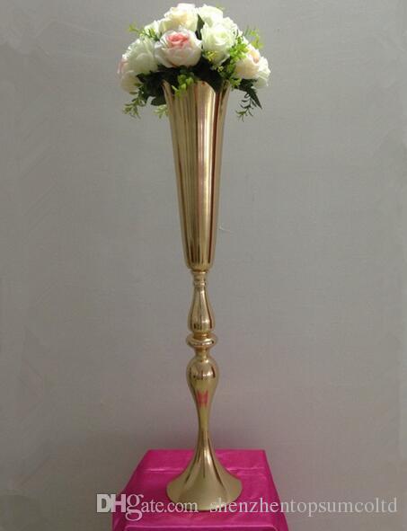 88cmの高さのゴールドメタルキャンドルホルダーキャンドルスタンドの結婚式の中心部のイベントロードの花の花瓶フラワーシェルフ12個/ロット