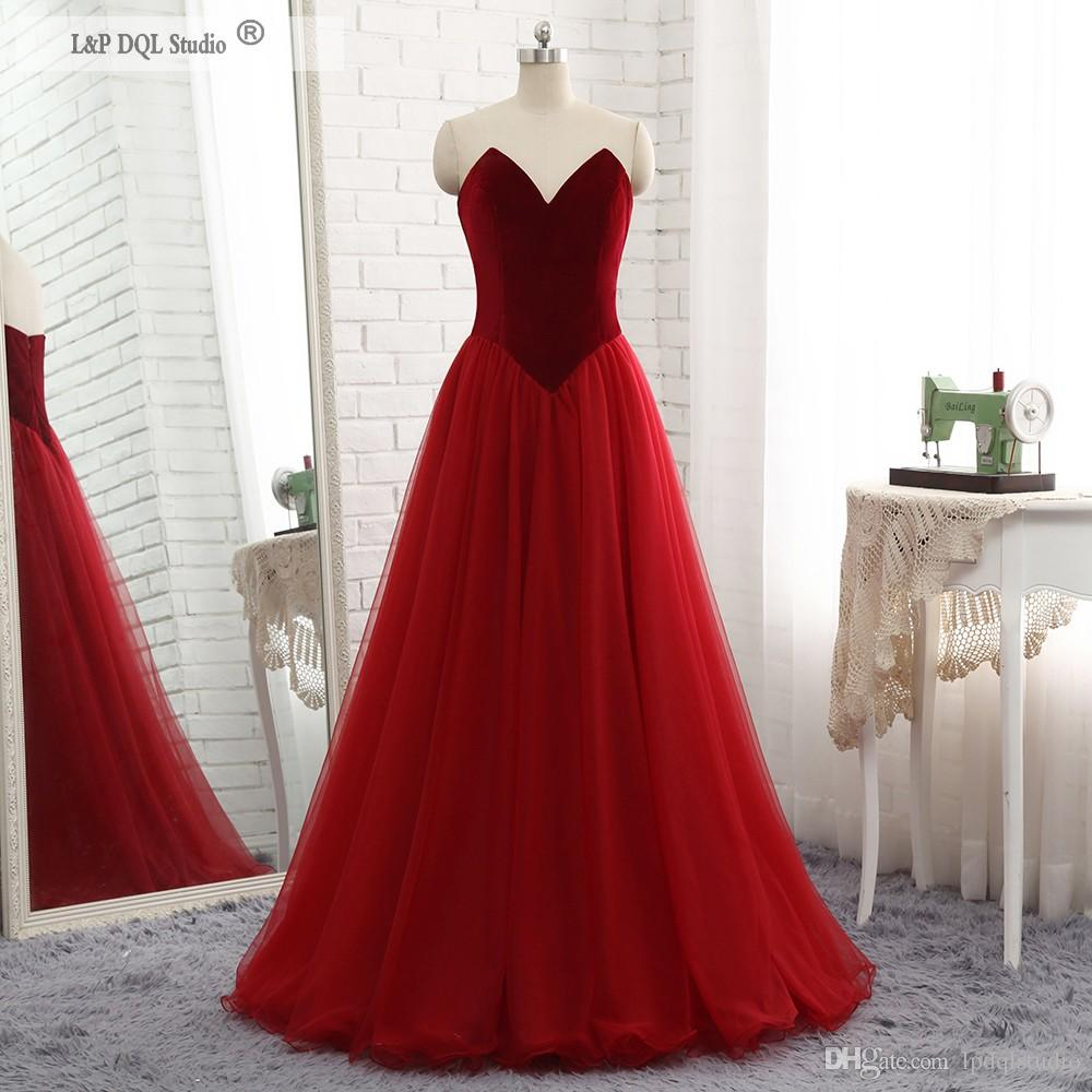 65f6b0ad4e Wine Red Evening Dresses Velvet Top Pleats Tulle Skirt Sweep Train Prom  Dresses Zipper Back Black,Burgundy Cheap Maxi Evening Dresses Occasion Wear  From ...