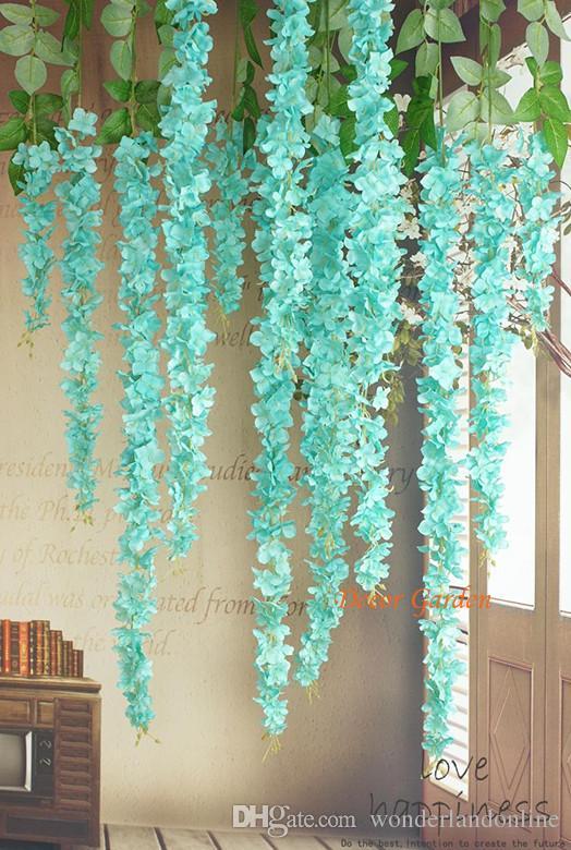 Искусственной Гортензии Глициния цветок Vine Rattan для DIY Свадебных площадей настенного Этап фон Sencery висячих корзины Могут быть Extension