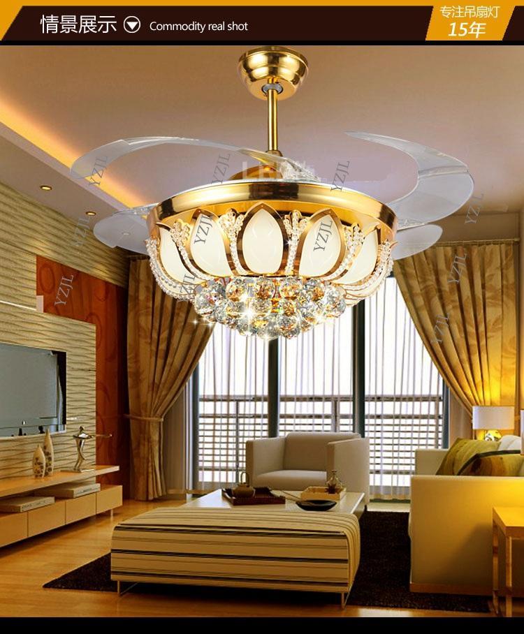 Golden crystal LED 42inch ceiling chandelier fan lights Fan chandelier with controller living room bedroom dining room fashion
