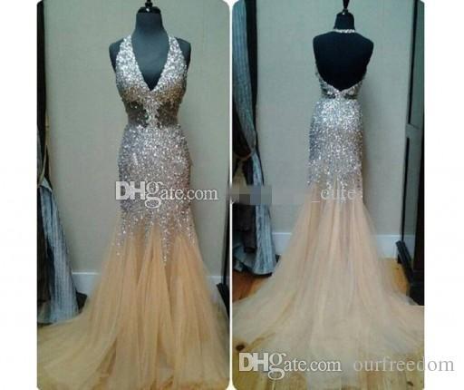 2019 Sexy Bling Mermaid Prom Dresses Tiefem V-Ausschnitt Halter Kristall Perlen Tüll Durchsichtig Backless Nude Abendkleider Festzug Kleider