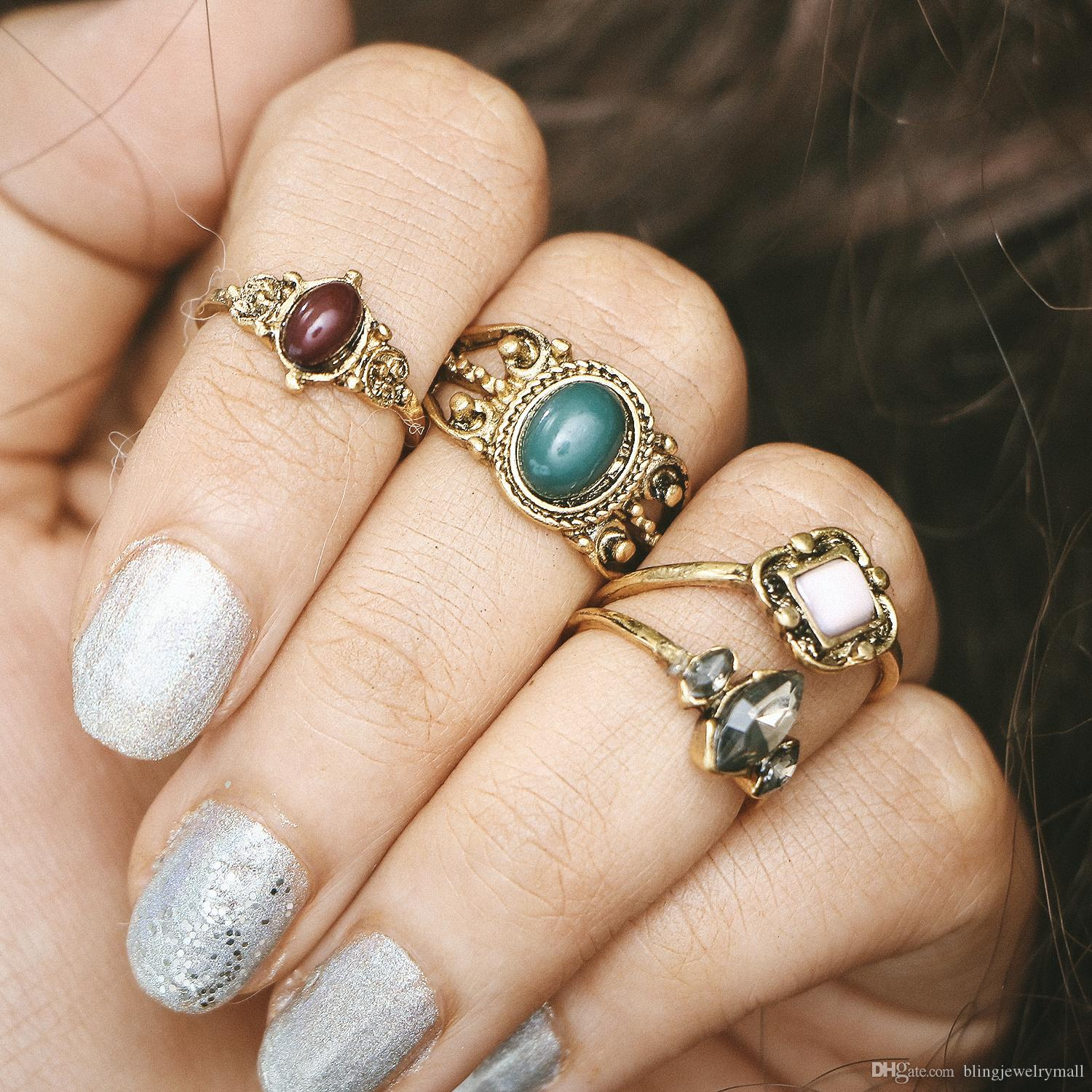 4pcs Natural Stone Silver Plated Rings Fashion Wholesale Jewelry