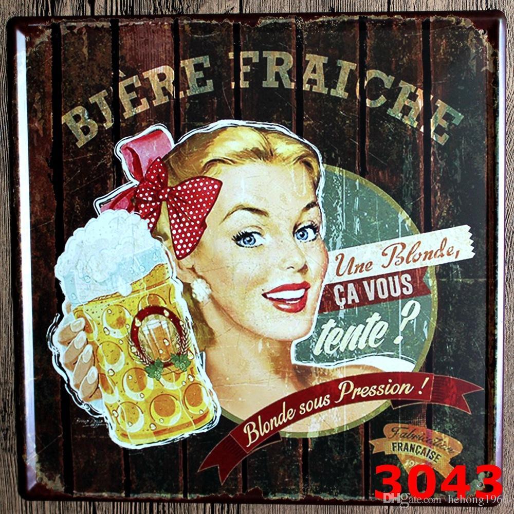 Mini Delices Gâteaux 30X30 CM Métal Tin Signe Pause Café Chien Plaque D'immatriculation Tin Posters Rouge Vin Moto Fer Peintures Antique 9 99rjK
