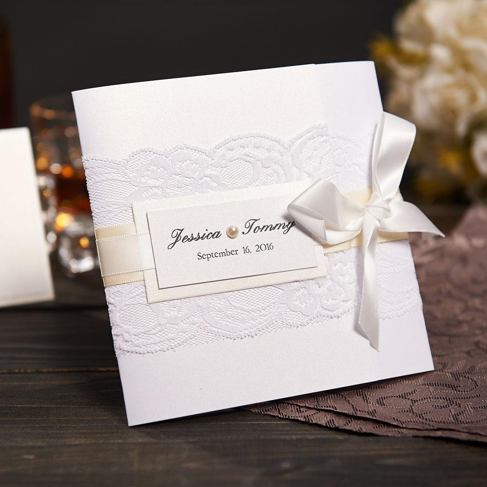 Elegant Lace Wedding Invitations With Rsvp And Envelope Customized ...