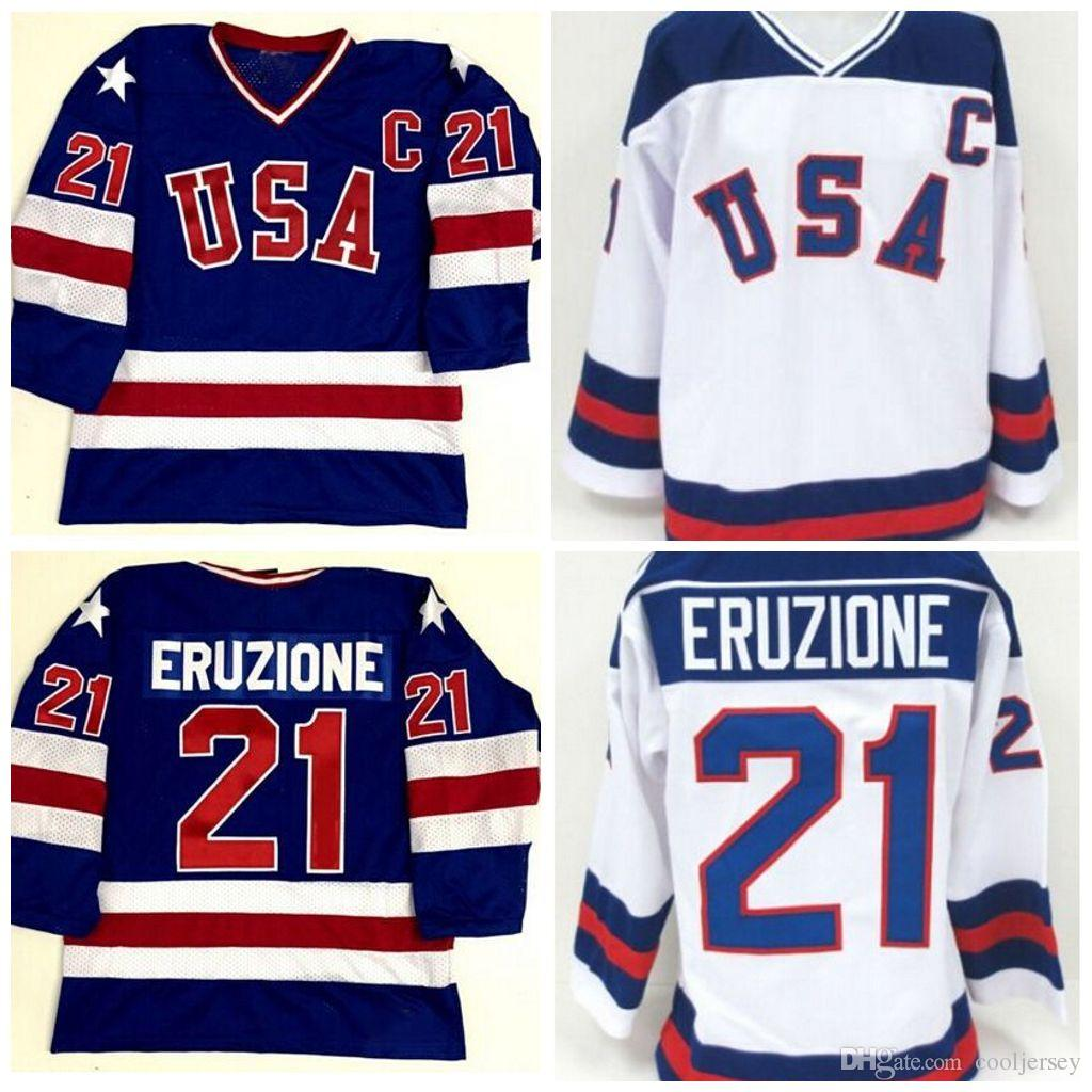 9b1ca91c3f6 2019 21 Mike Eruzione 1980 Miracle On Ice Jersey USA Olympic Ice Hockey